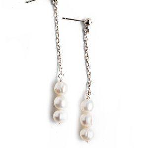 Triple Pearl Dangling Earrings